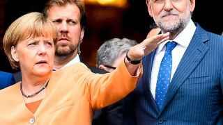 Encuentro entre Rajoy y Merkel.