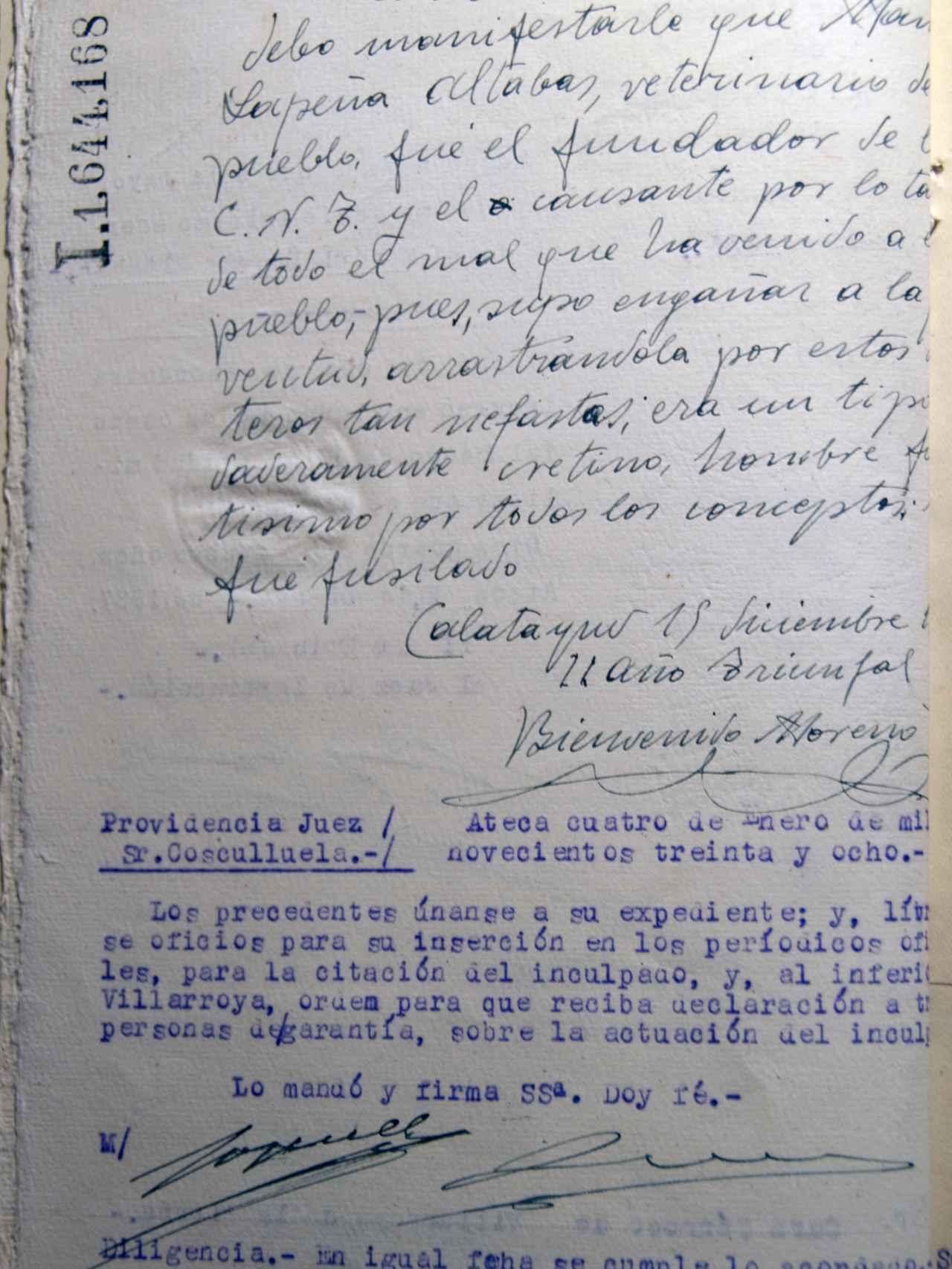 Declaración del cura de Villarroya de la Sierra.