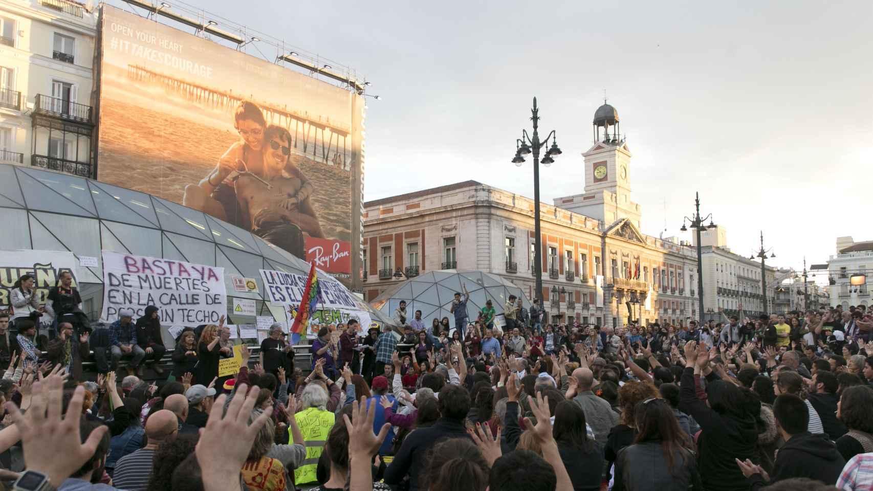 La Puerta del Sol de Madrid, en la conmemoración del 15-M.
