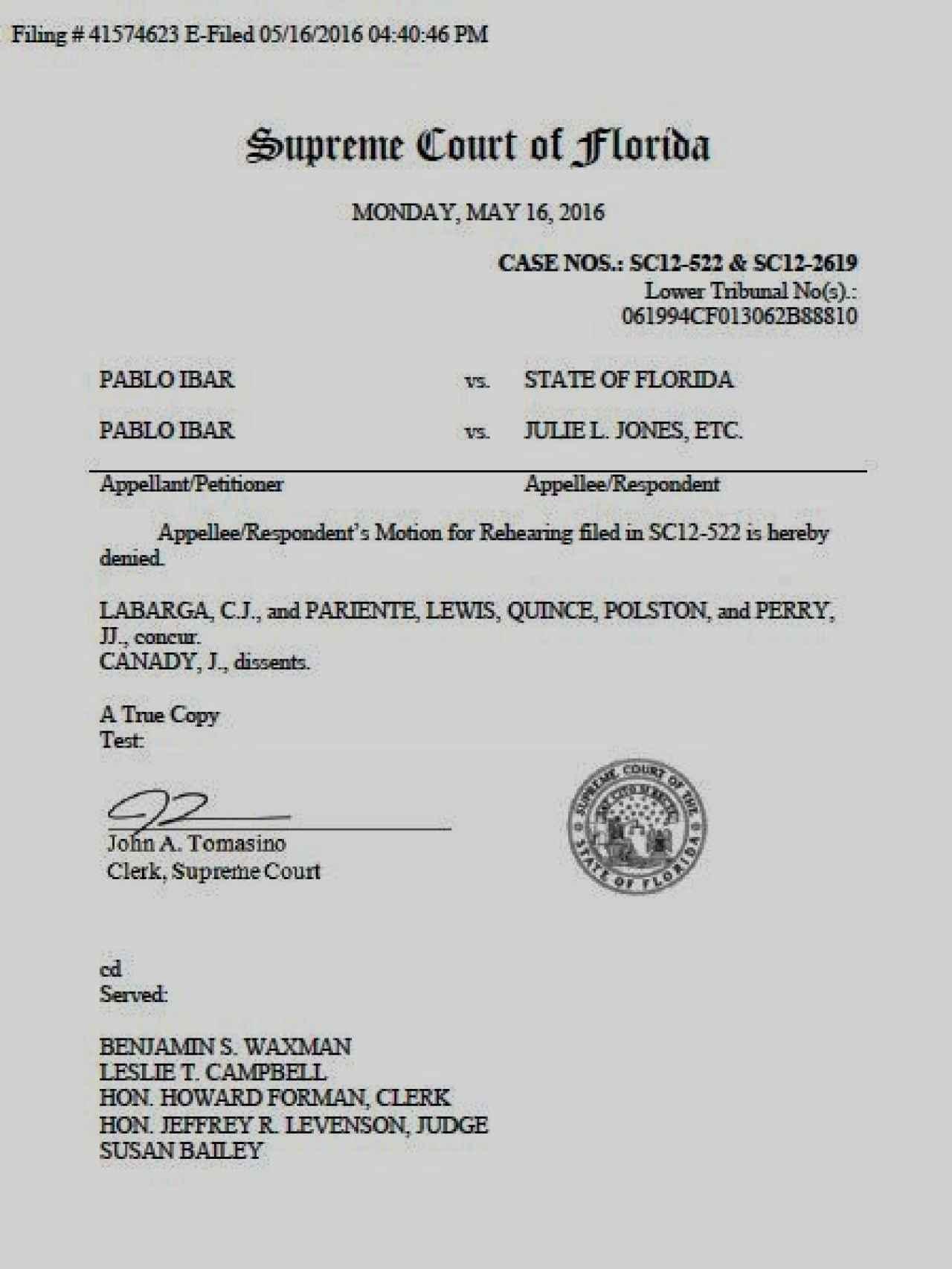 Documento con el que el Tribunal Supremo de Florida desestima el recurso del fiscal y ofrece un nuevo juicio a Pablo Ibar.