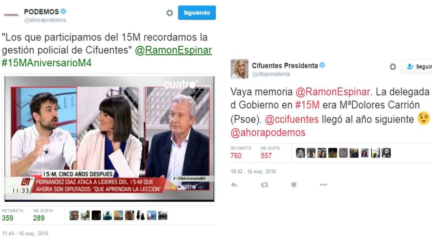 El intercambio de tuits entre las cuentas de Podemos y el equipo de Cifuentes