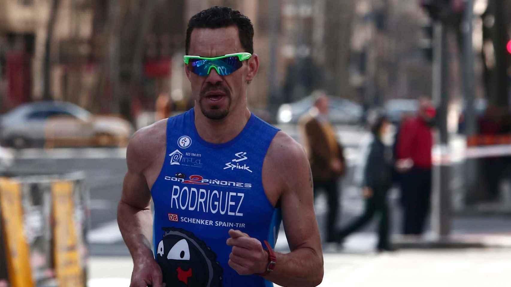 El exciclista Alexis Rodríguez, en un duatlón en 2014.