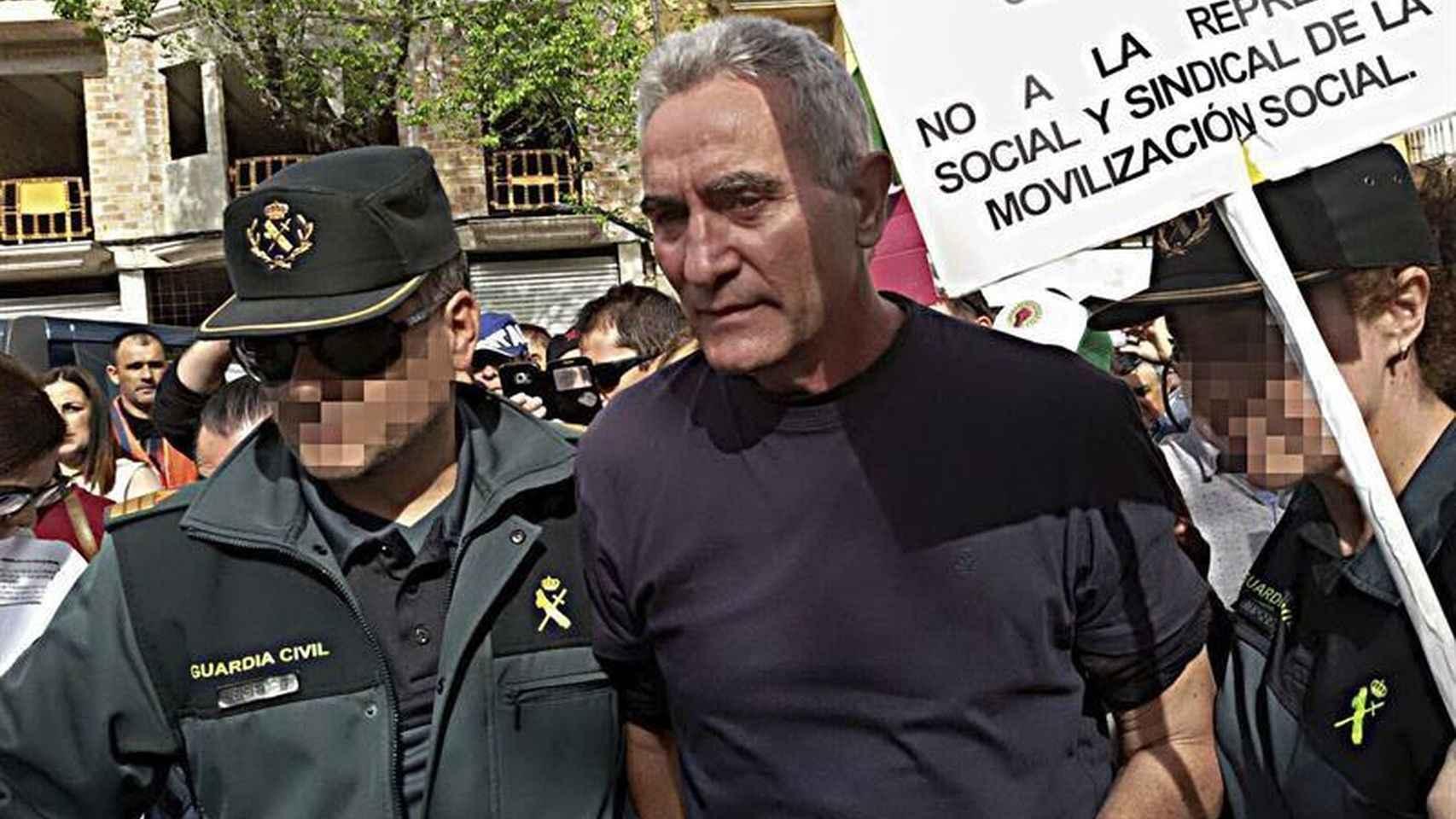 El dirigente del (SAT) Diego Cañamero durante su detención.