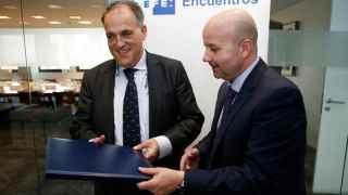 Javier Tebas, en su visita a EFE.