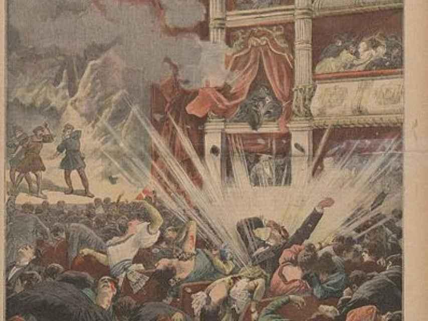 Portada de Le Petit Journal, informando de un atentado en el Liceo.