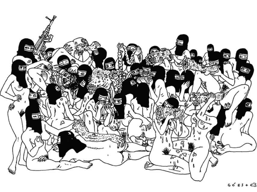 Una de las ilustraciones para colorear de Suruba para colorir, de Bebel Abreu.