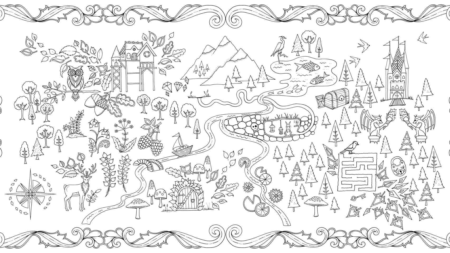 Imagen para colorear de El Bosque encantado, de Johanna Basford.