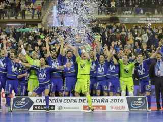 Movistar Inter celebrando la reciente Copa de España.