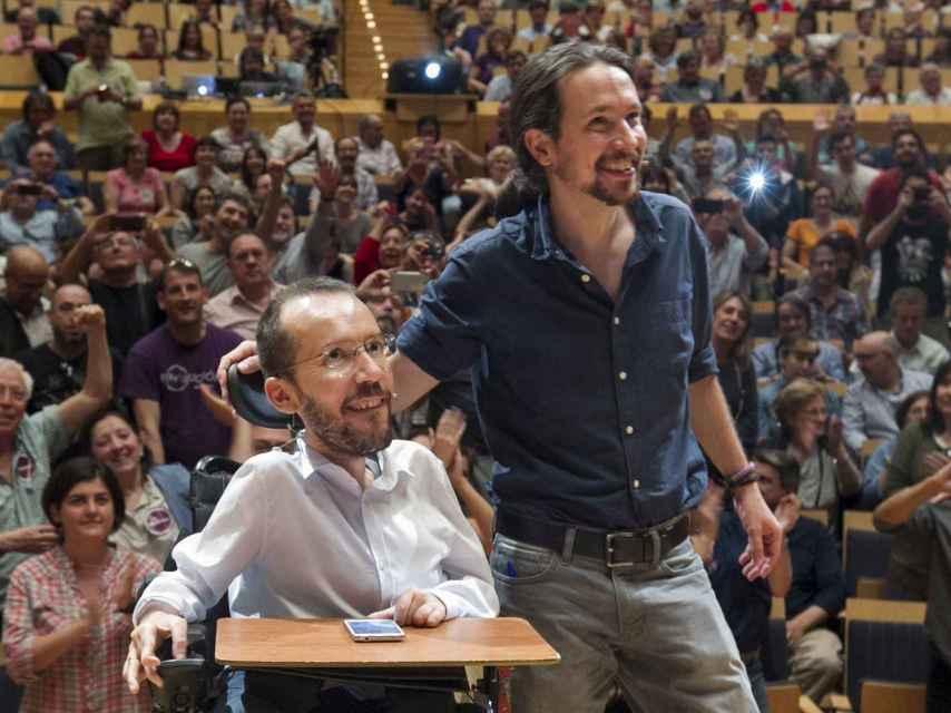 Iglesias y Echenique en el encuentro abierto celebrado en Zaragoza.