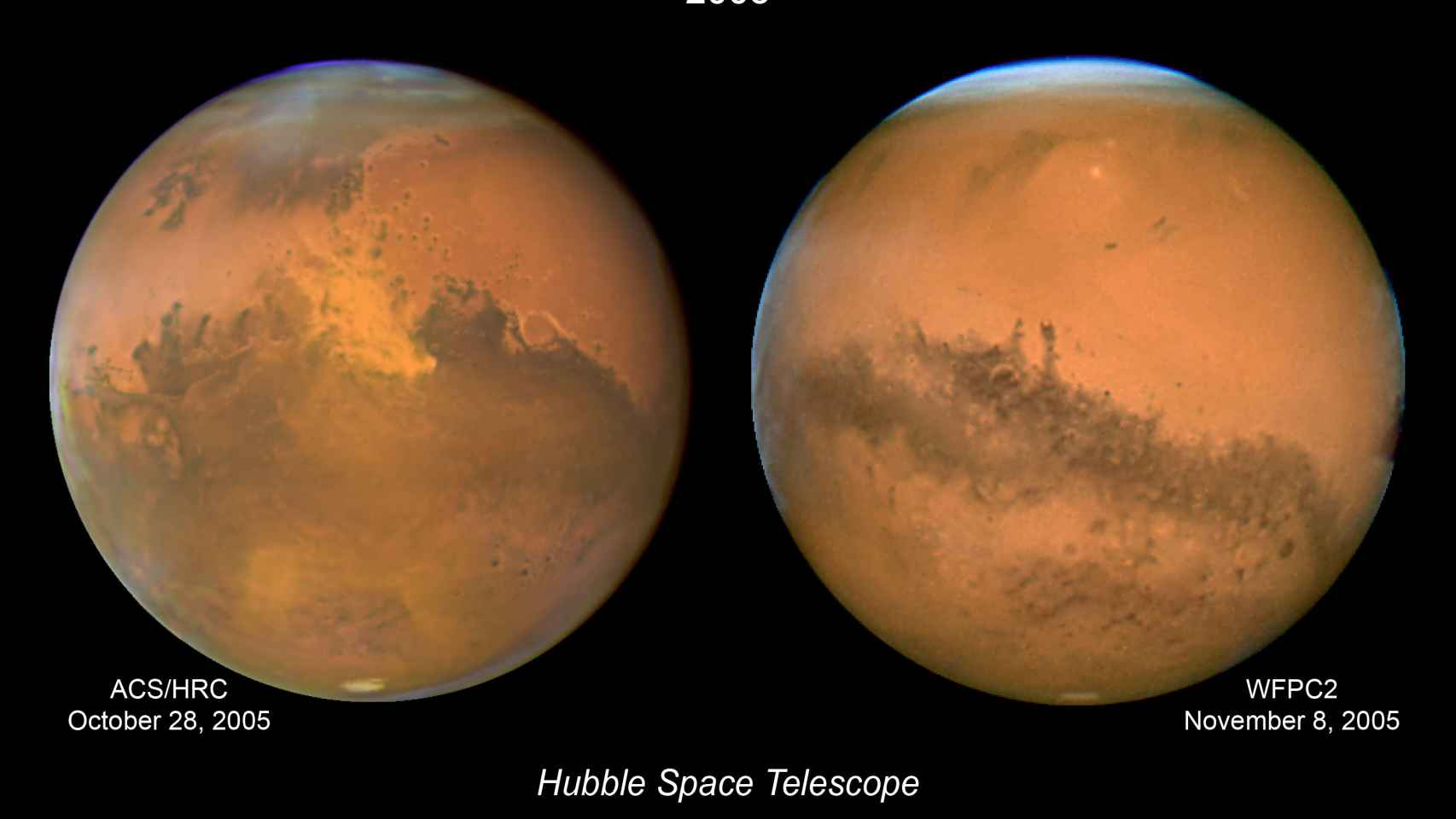 Dos imágenes del planeta en una aproximación y oposición parcial, en octubre y noviembre de 2005.