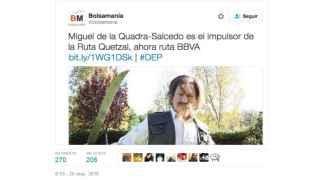 El tuit con la parodia de Miguel De la Quadra Salcedo