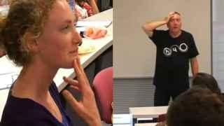 Un momento del vídeo en el que la estudiante interpela a Tree.