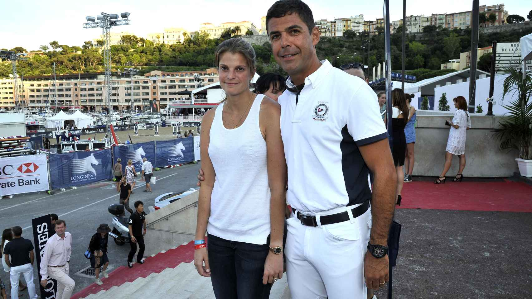 Athina Onassis y Alvaro Miranda Neto en el concurso hípico CSI5 de Montecarlo