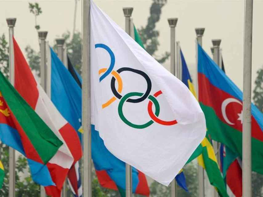 Bandera de anillos olímpicos.