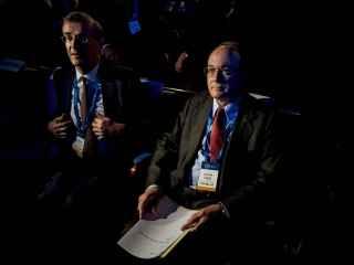 El gobernador del Banco de España durante el encuentro de primavera del Instituto de Finanzas Internacional (IIF)