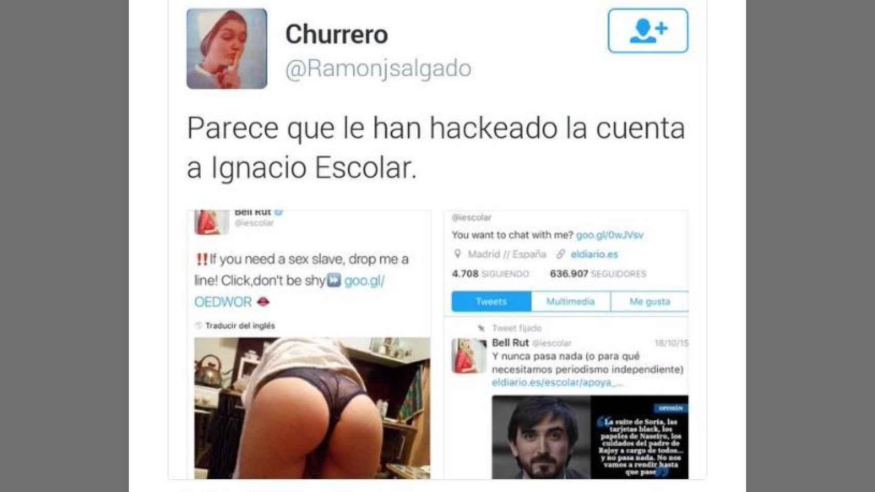 Captura de la cuenta impostora en el timeline de Ignacio Escolar.
