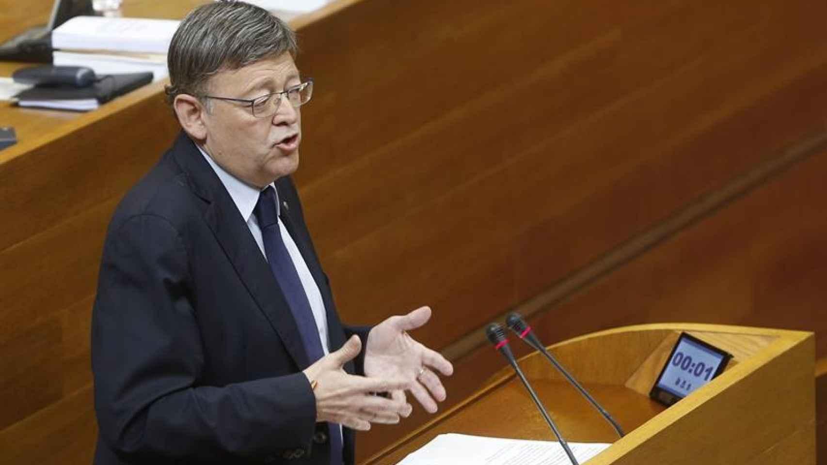 Ximo Puig, durante una sesión de control en el Senado.