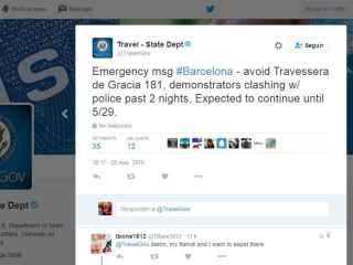 El tuit con el que EEUU avisa de que los disturbios pueden durar hasta el domingo.
