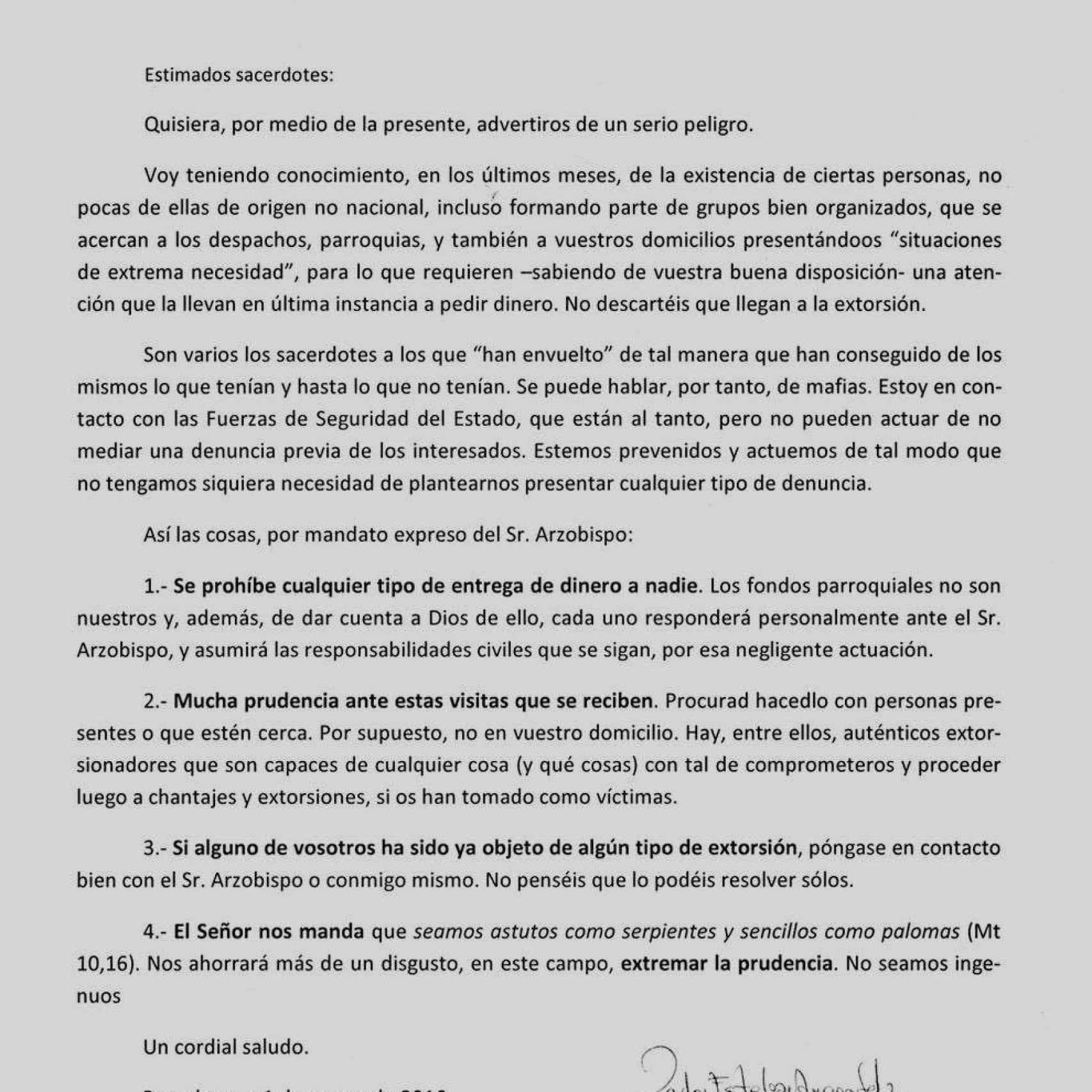 Carta que envió el Arzobispado a los sacerdotes.