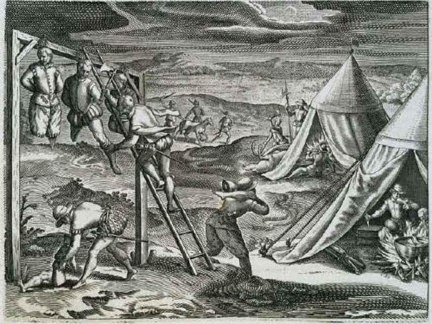 El grabado de Theodor de Bry sobre el canibalismo español en Buenos Aires.