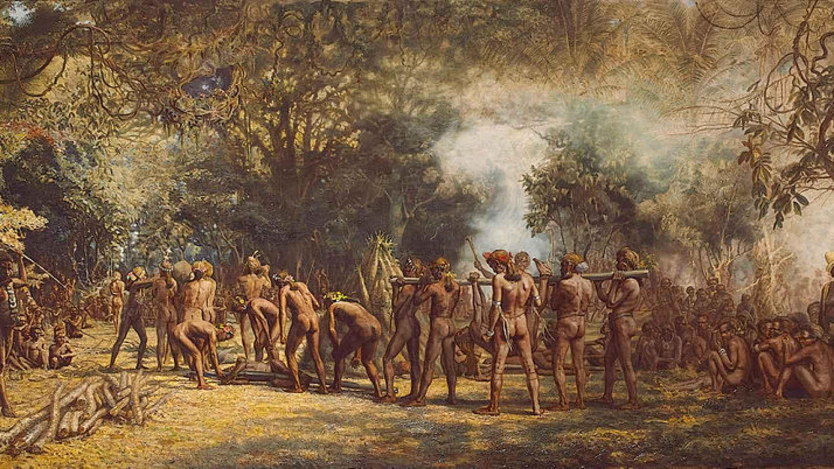 La obra Festín canibal en la isla de Tanna, de Charles E. Gordon Frazer (1863-1899)