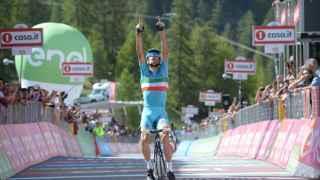 Nibali celebra su victoria en la etapa del Giro.