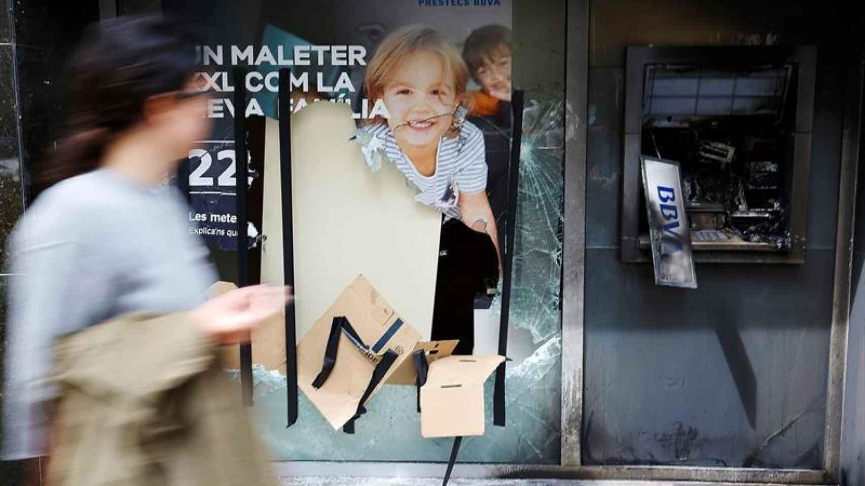 Uno de los locales afectados por los disturbios de esta semana en Barcelona
