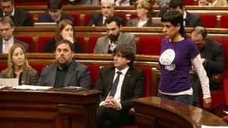 Junqueras, Puigdemont y Anna Gabriel en el Parlament de Cataluña.
