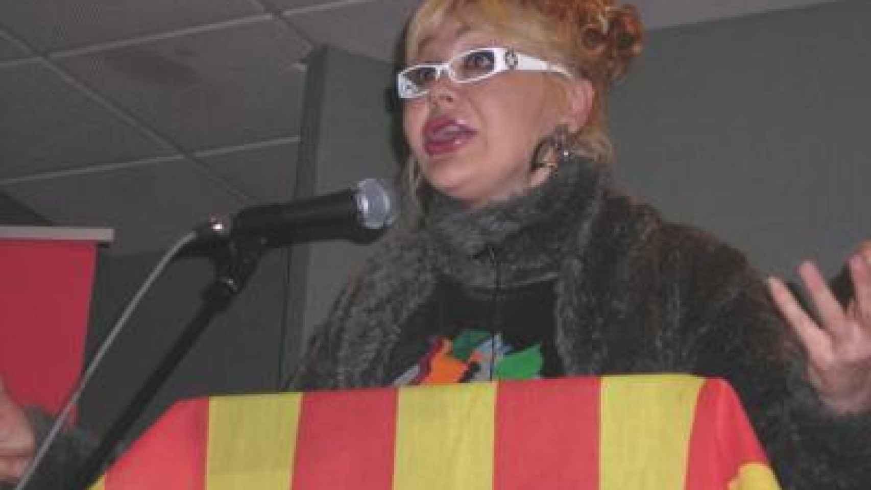 Manuela Trasobares durante un mitín