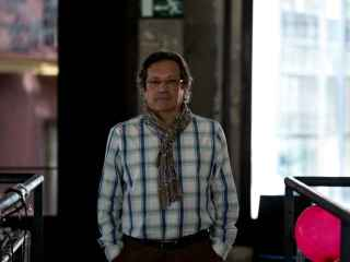 Santiago Eraso durante la entrevista, en Media Lab Prado.