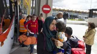 Refugiados llegados a España este lunes.