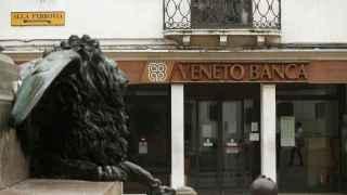 The logo of Veneto Banca bank is seen in Venice