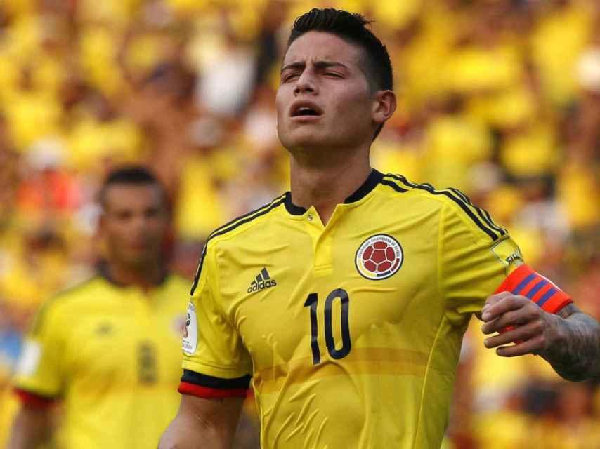 James Rodríguez en un partido con Colombia.