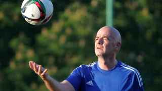 FIFA President Infantino plays with ball during friendly soccer match between 2018 World Cup Organising Committee and Rosich-Starco team of Russian politicians and pop stars in Moscow