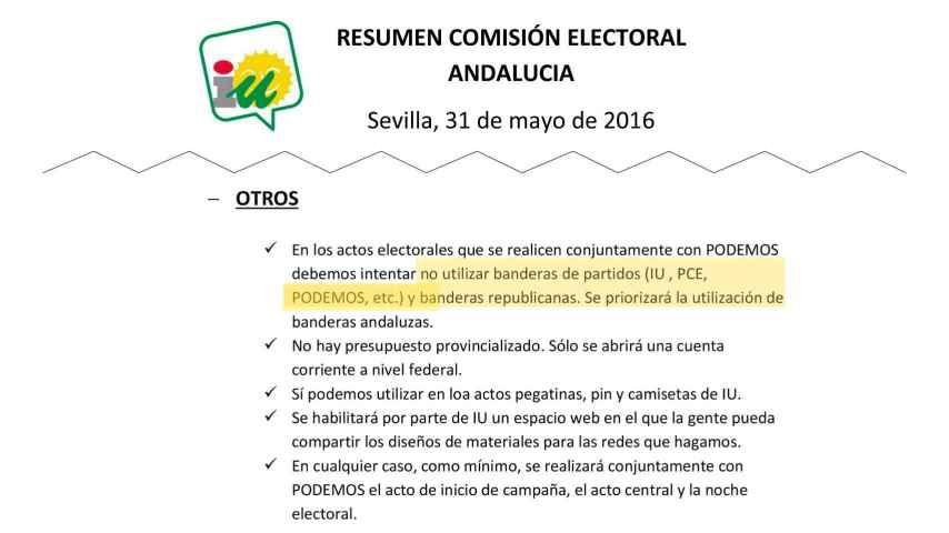 Garzón dice que la prohibición de las banderas es falsa pero aquí está el documento que la prueba