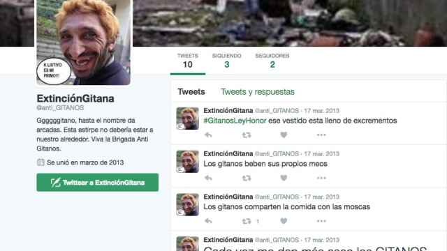 Cuenta de Twitter @anti_gitanos