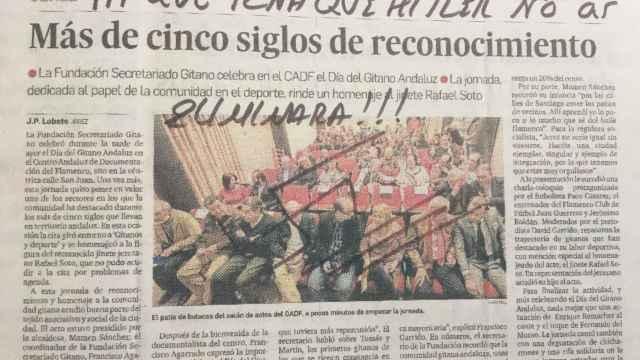 Un recorte de prensa anónimo que recibió el Secretariado Gitano de Jerez