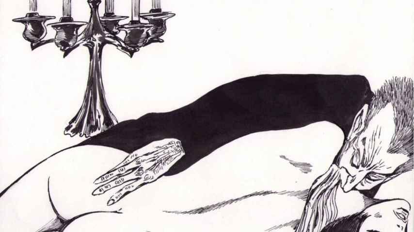 Viñeta de la Valentina de Crepax con Drácula.