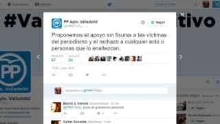 """El tuit del grupo del PP de Valladolid sobre las """"víctimas del periodismo""""."""