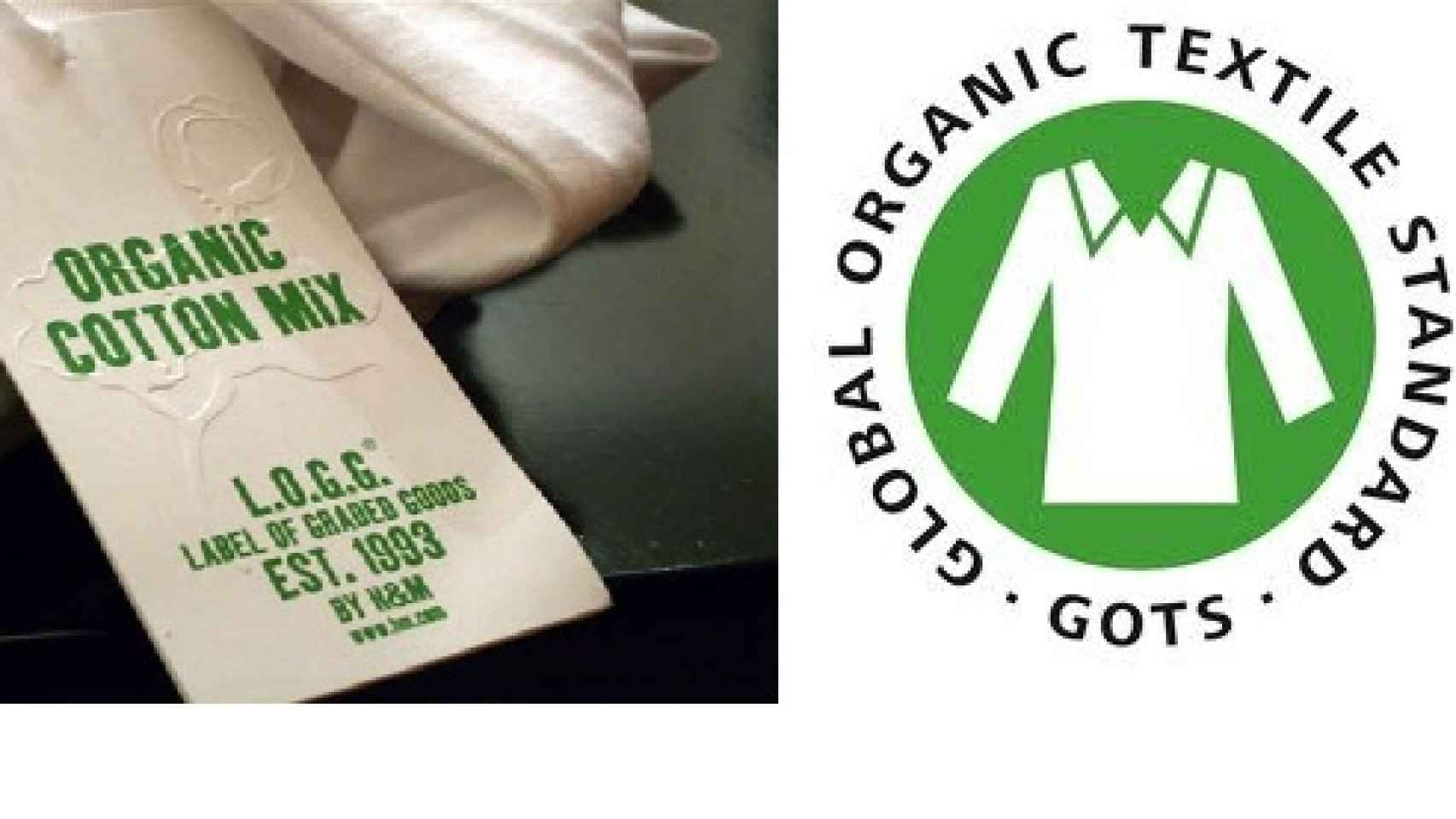 Etiquetas de certificados sostenibles para las prendas.