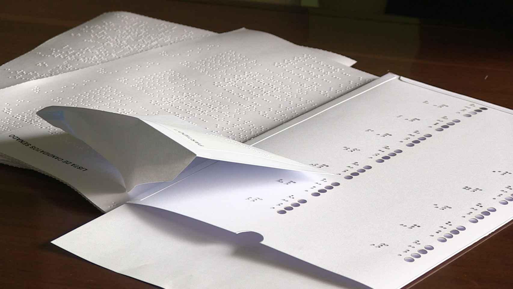 Documentación en braille para la preparación del voto