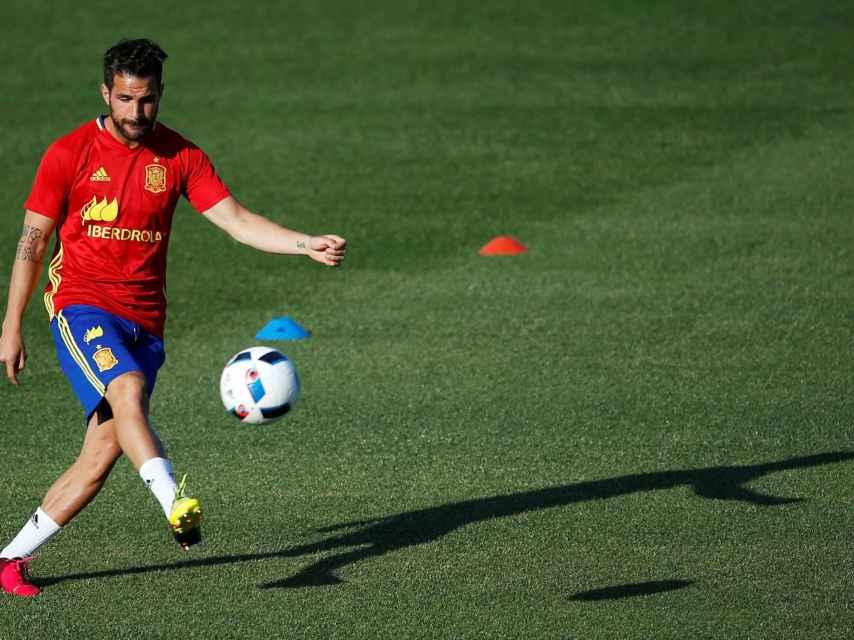 Cesc Fàbregas, entrenando con la selección