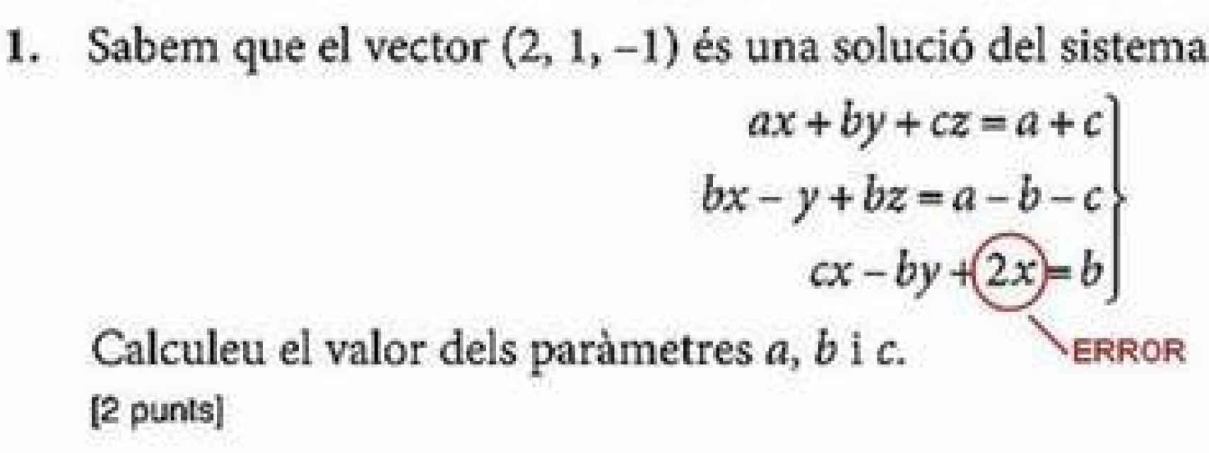 Errata durante un examen de Matemáticas
