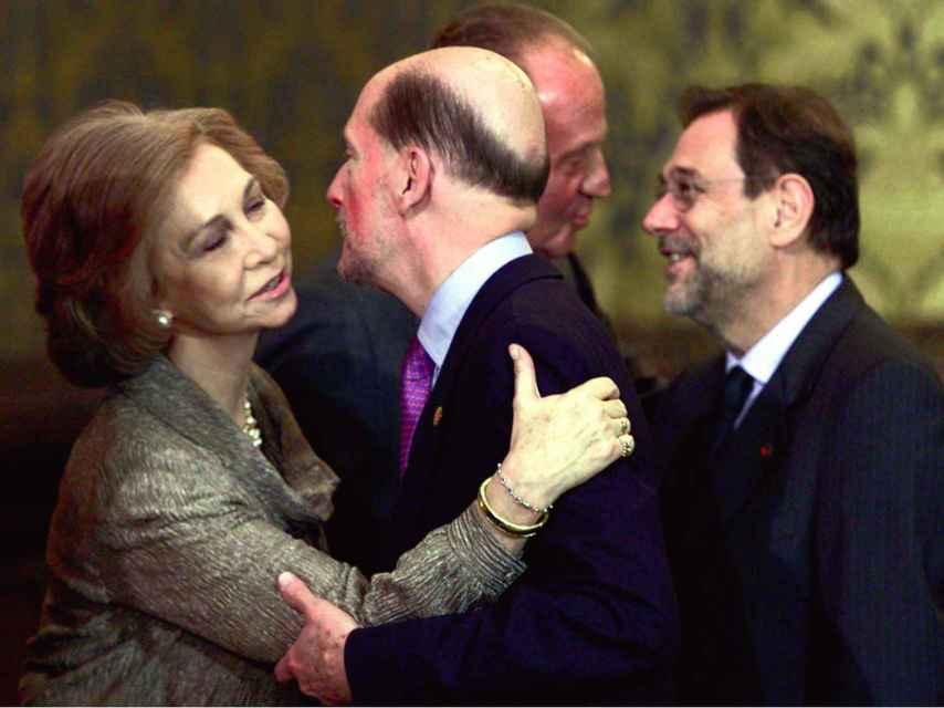 Simeón II de Bulgaria con los reyes eméritos Juan Carlos I y Sofía