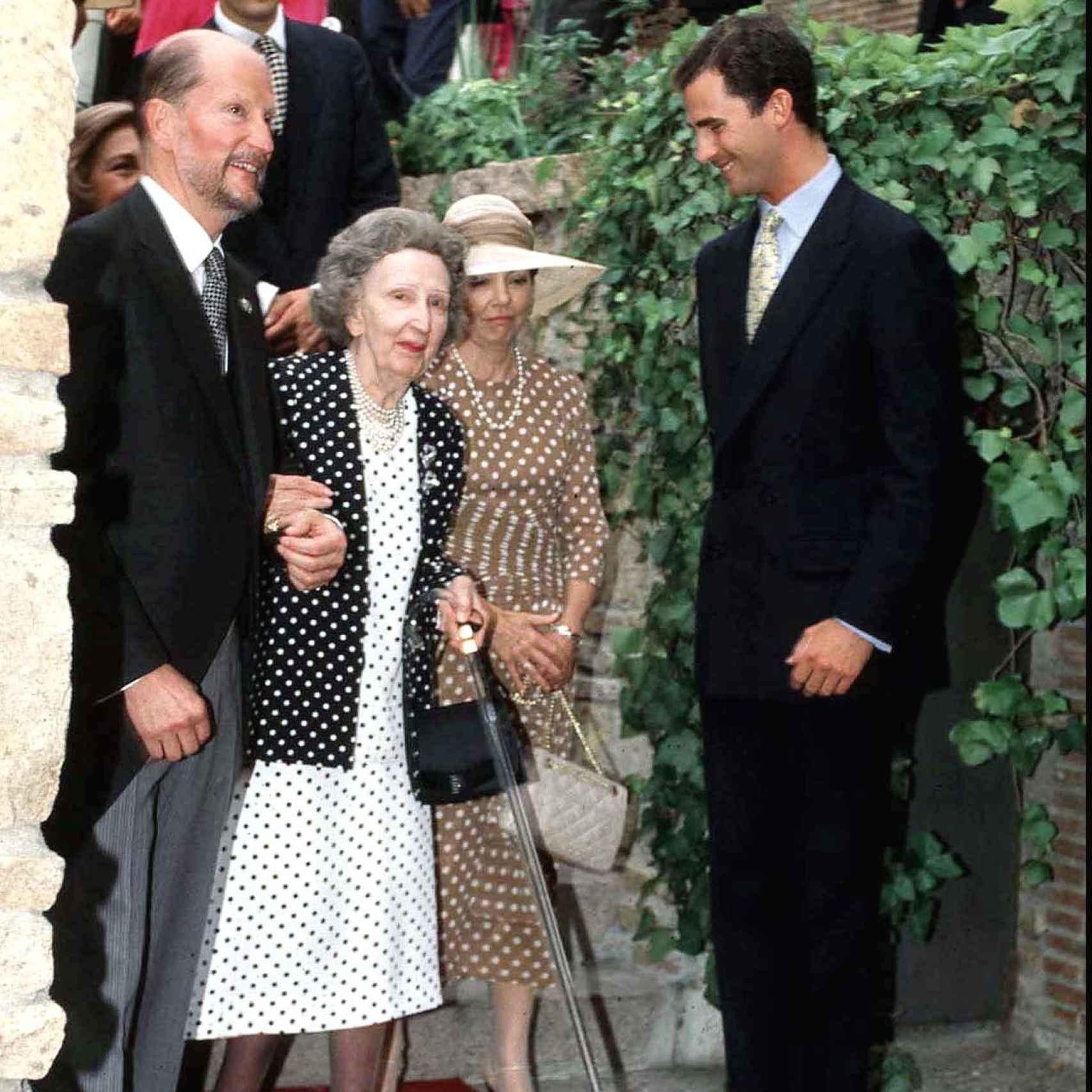 Felipe VI de joven con Simeón II de Bulgaria y su mujer Margarita
