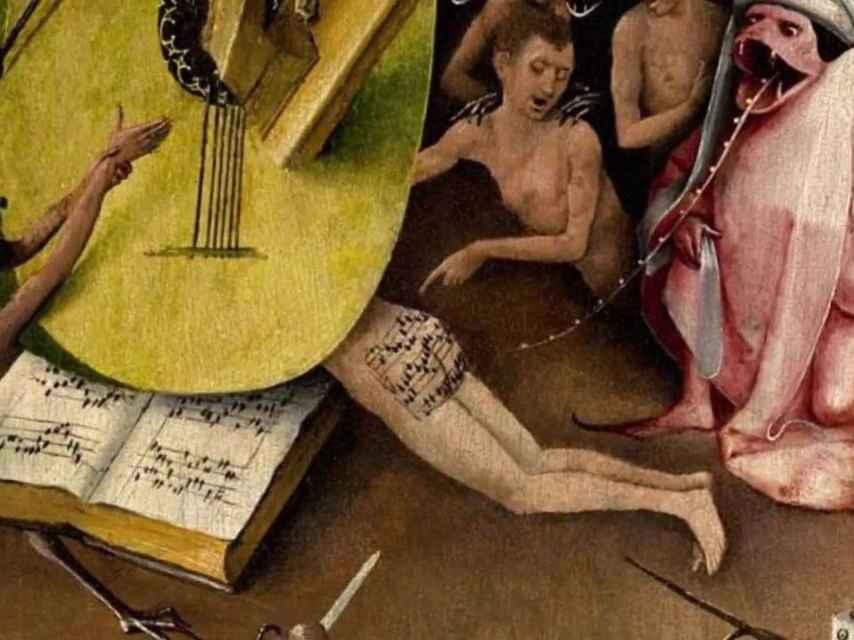 Fragmento de El jardín de las delicias, con la partitura en el trasero.