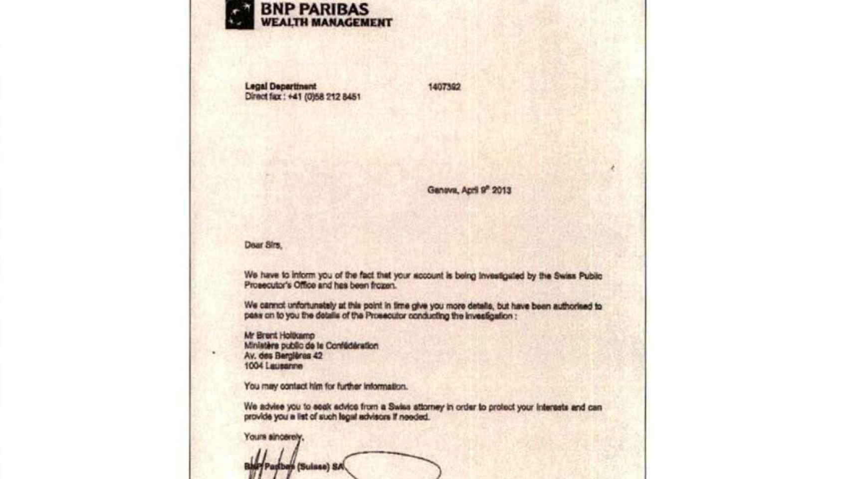 Carta enviada por el BNP a David Marjaliza.