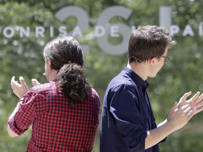 Pablo Iglesias e Íñigo Errejón, en un mitin reciente.