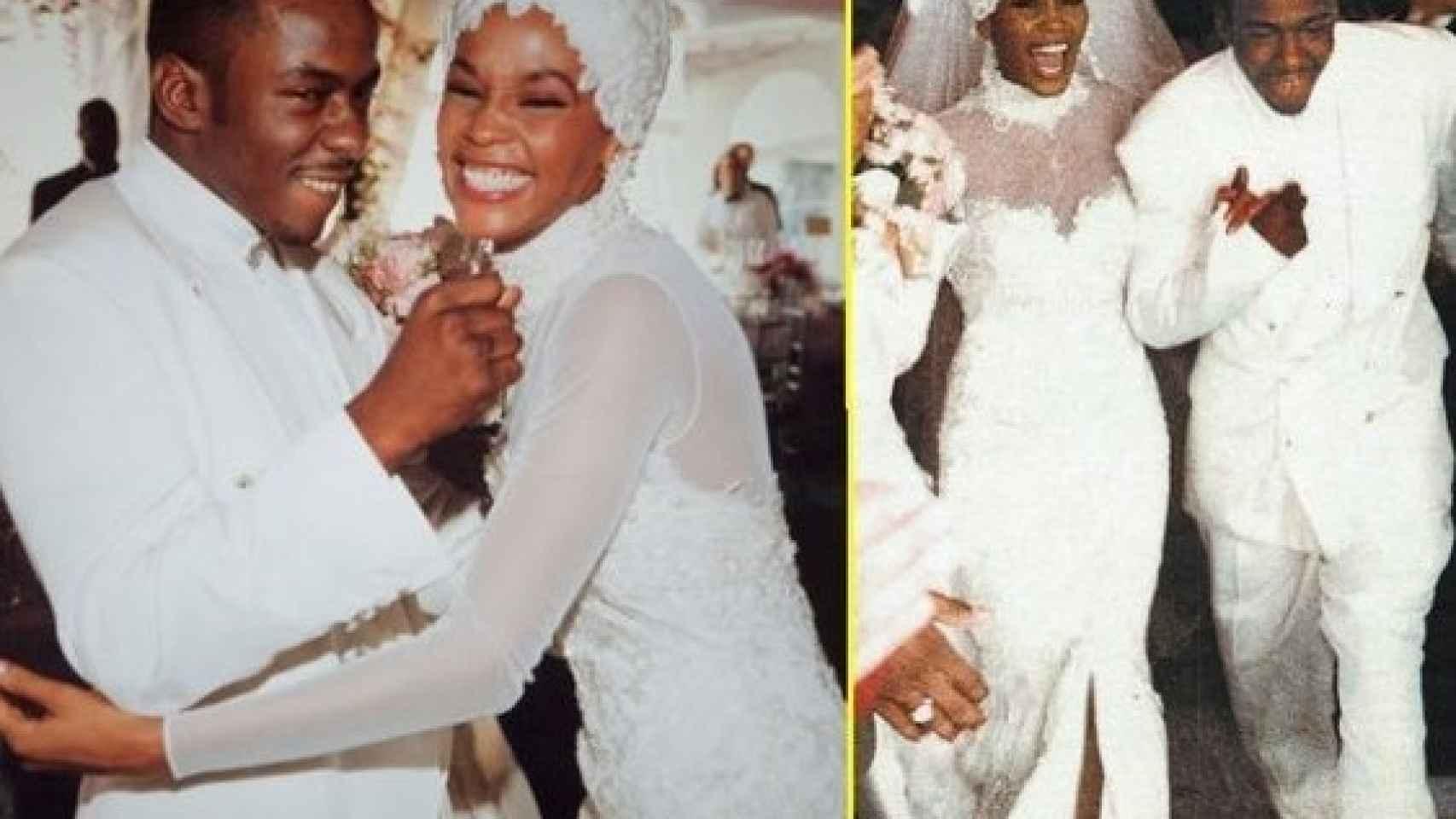 La cantante Whitney Houston el día de su boda con Bobby Brown en 1992