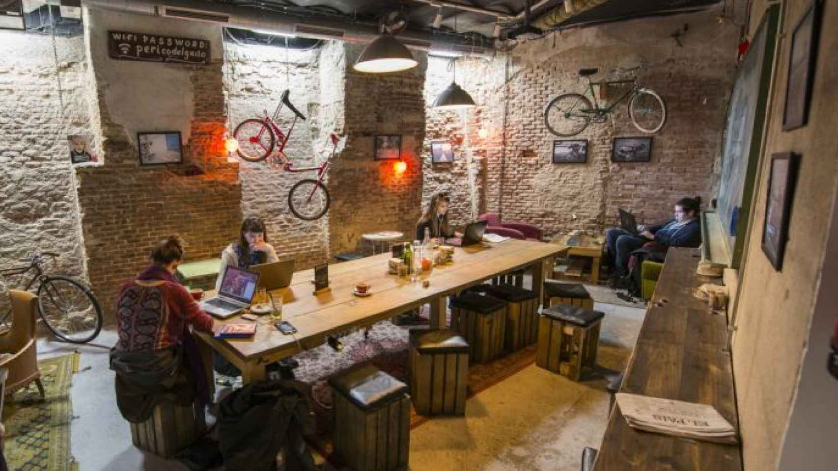 Cycling cafe  workplace.